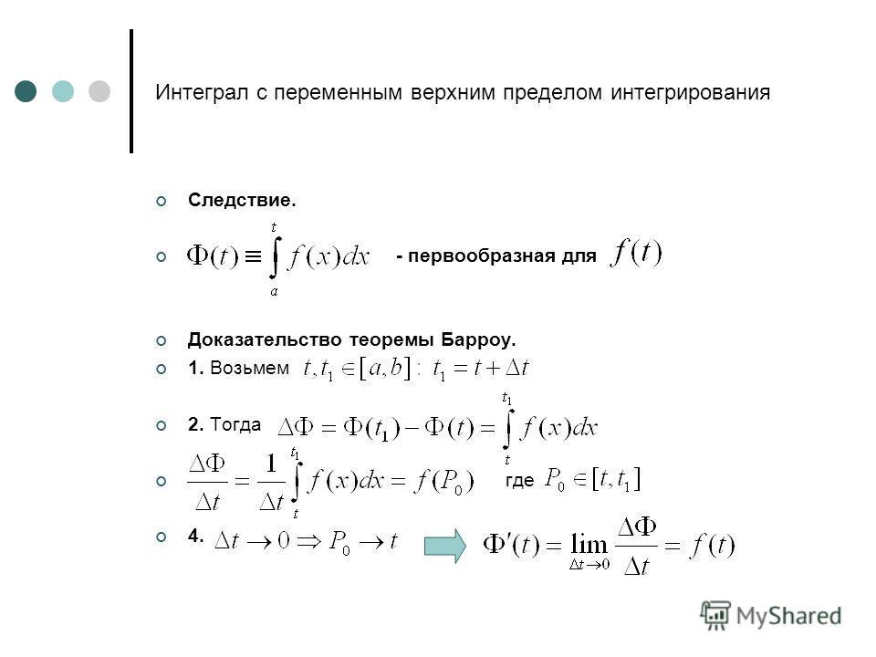 Интеграл с переменным верхним пределом интегрирования Следствие. - первообразная для Доказательство теоремы Барроу. 1. Возьмем 2. Тогда где 4.