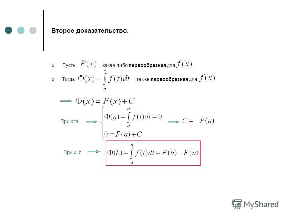 Второе доказательство. Пусть - какая-либо первообразная для. Тогда - также первообразная для При х=a При х=b