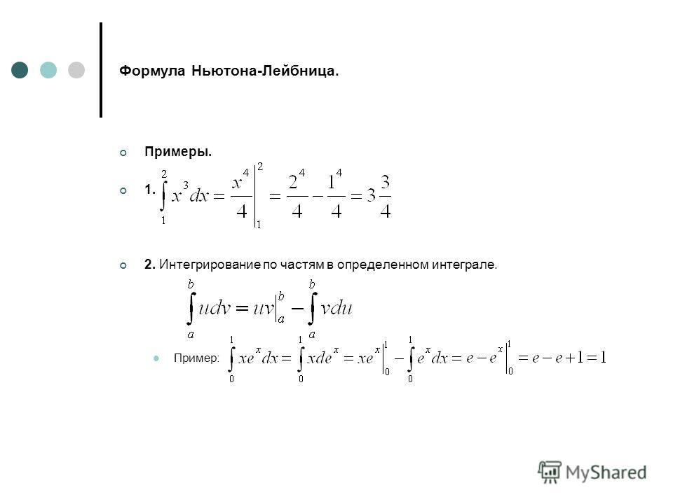 Формула Ньютона-Лейбница. Примеры. 1. 2. Интегрирование по частям в определенном интеграле. Пример: