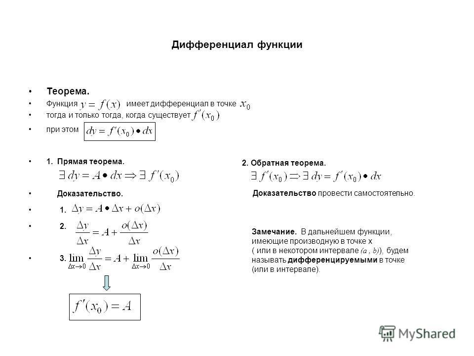 Дифференциал функции Теорема. Функция имеет дифференциал в точке тогда и только тогда, когда существует, при этом 1. Прямая теорема. Доказательство. 1. 2. 3. 2. Обратная теорема. Доказательство провести самостоятельно. Замечание. В дальнейшем функции