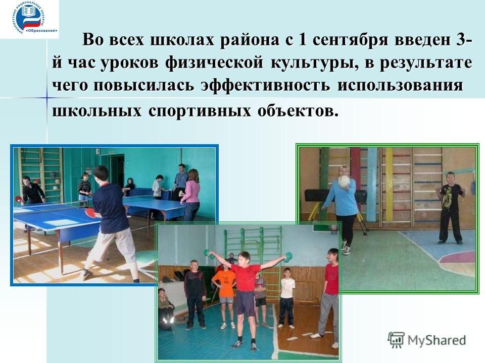 Во всех школах района с 1 сентября введен 3- й час уроков физической культуры, в результате чего повысилась эффективность использования школьных спортивных объектов.