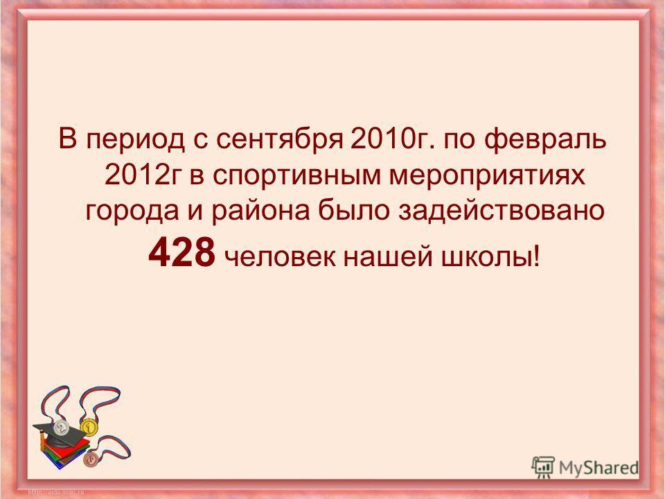 В период с сентября 2010г. по февраль 2012г в спортивным мероприятиях города и района было задействовано 428 человек нашей школы!