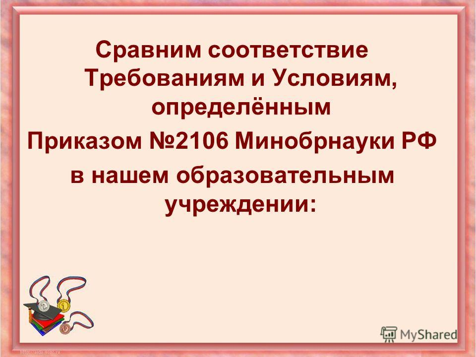 Сравним соответствие Требованиям и Условиям, определённым Приказом 2106 Минобрнауки РФ в нашем образовательным учреждении: