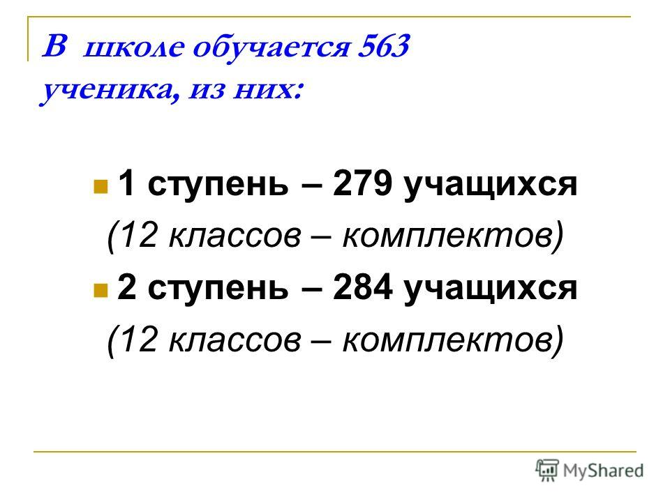 В школе обучается 563 ученика, из них: 1 ступень – 279 учащихся (12 классов – комплектов) 2 ступень – 284 учащихся (12 классов – комплектов)