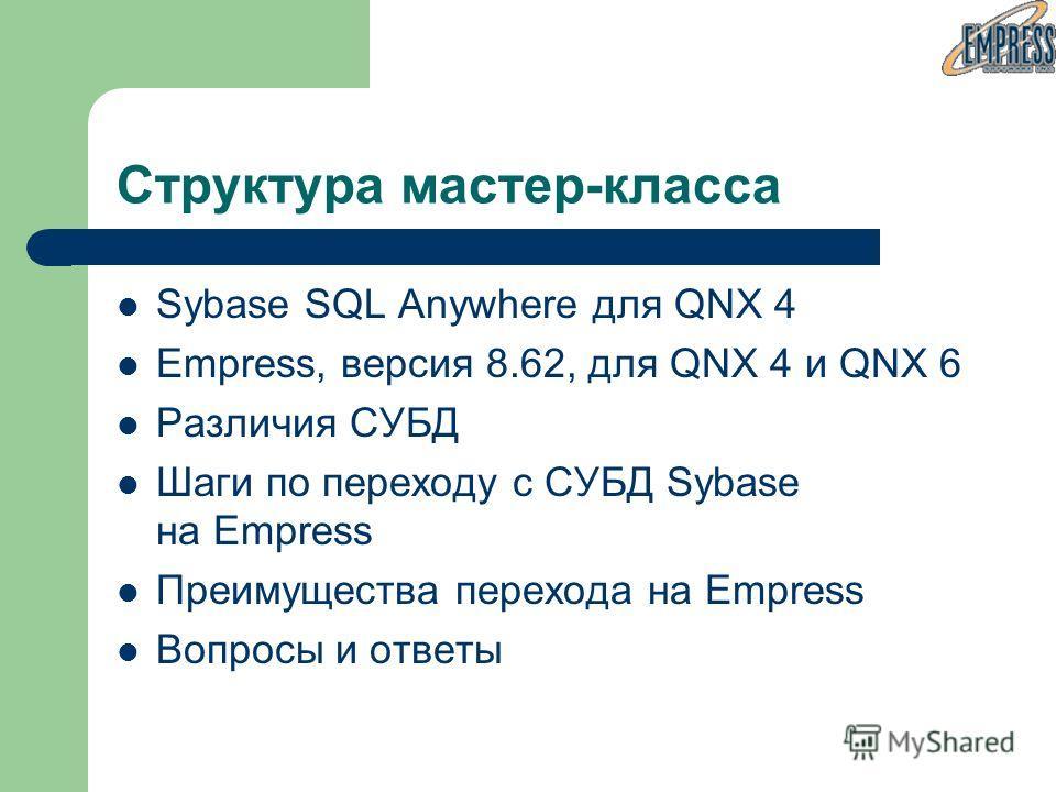 Структура мастер-класса Sybase SQL Anywhere для QNX 4 Empress, версия 8.62, для QNX 4 и QNX 6 Различия СУБД Шаги по переходу с СУБД Sybase на Empress Преимущества перехода на Empress Вопросы и ответы