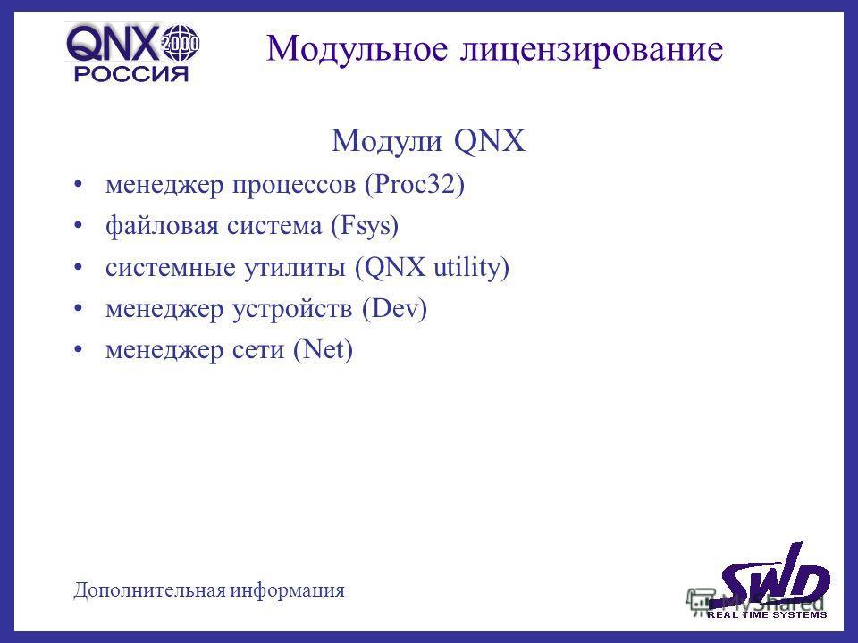 Модульное лицензирование Модули QNX менеджер процессов (Proc32) файловая система (Fsys) системные утилиты (QNX utility) менеджер устройств (Dev) менеджер сети (Net) Дополнительная информация