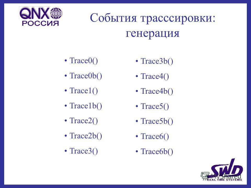 События трасссировки: генерация Trace0() Trace0b() Trace1() Trace1b() Trace2() Trace2b() Trace3() Trace3b() Trace4() Trace4b() Trace5() Trace5b() Trace6() Trace6b()