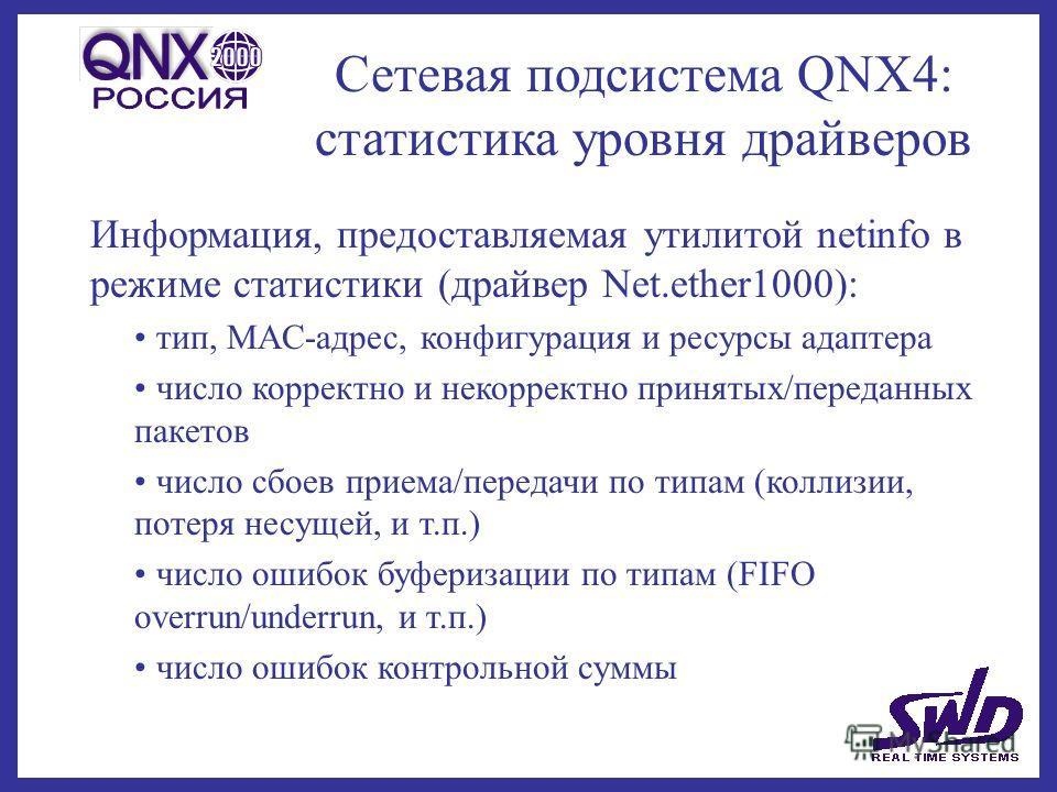 Сетевая подсистема QNX4: статистика уровня драйверов Информация, предоставляемая утилитой netinfo в режиме статистики (драйвер Net.ether1000): тип, MAC-адрес, конфигурация и ресурсы адаптера число корректно и некорректно принятых/переданных пакетов ч
