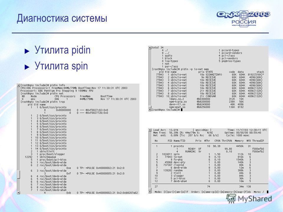 Диагностика системы Утилита pidin Утилита spin