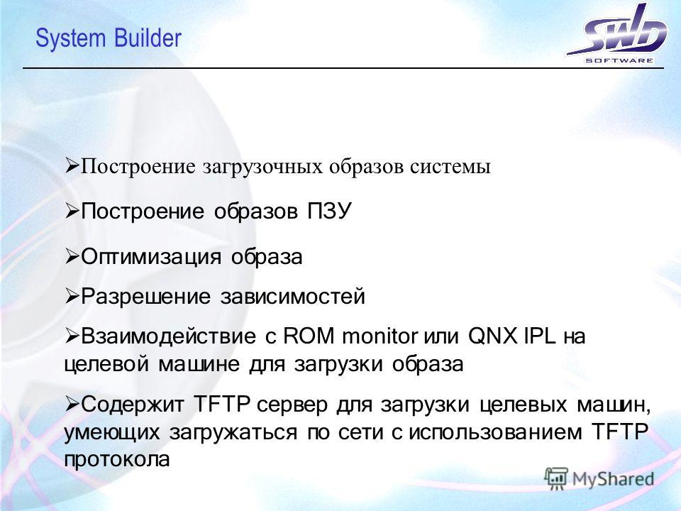 System Builder Построение загрузочных образов системы Построение образов ПЗУ Оптимизация образа Разрешение зависимостей Взаимодействие с ROM monitor или QNX IPL на целевой машине для загрузки образа Содержит TFTP сервер для загрузки целевых машин, ум