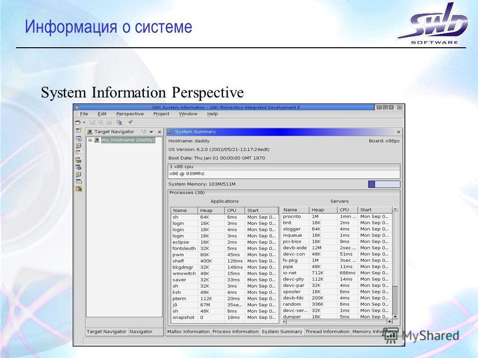 Информация о системе System Information Perspective