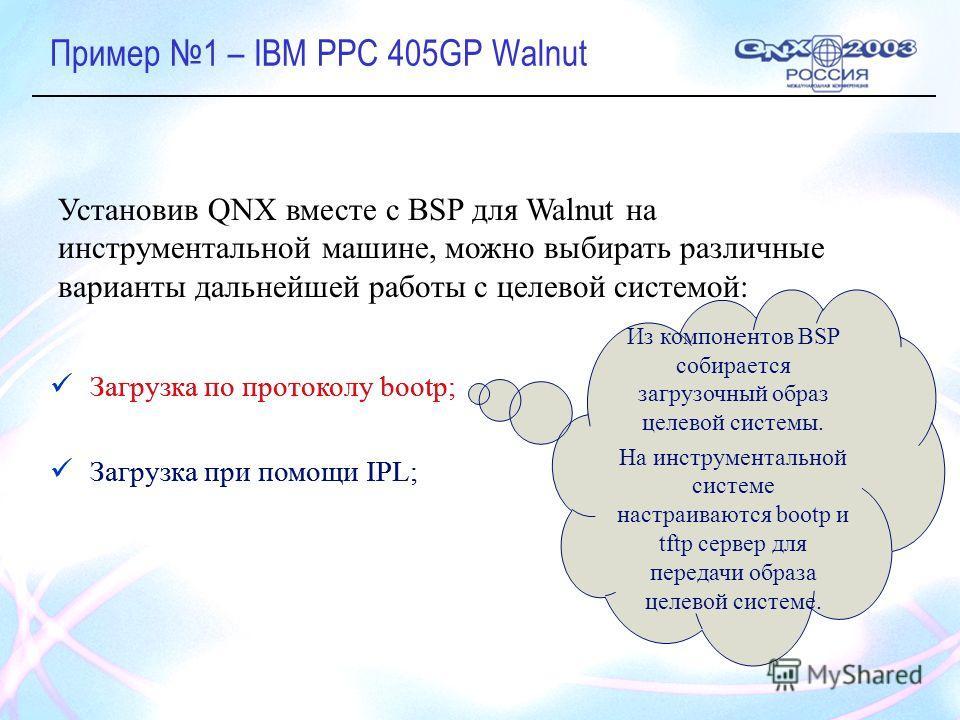 Пример 1 – IBM PPC 405GP Walnut Загрузка по протоколу bootp; Загрузка при помощи IPL; Установив QNX вместе с BSP для Walnut на инструментальной машине, можно выбирать различные варианты дальнейшей работы с целевой системой: Из компонентов BSP собирае