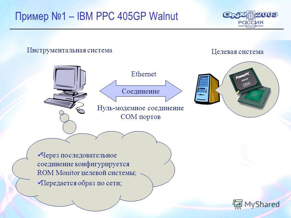 Пример 1 – IBM PPC 405GP Walnut Целевая система Инструментальная система Соединение Ethernet Нуль-модемное соединение COM портов Через последовательное соединение конфигурируется ROM Monitor целевой системы; Передается образ по сети;