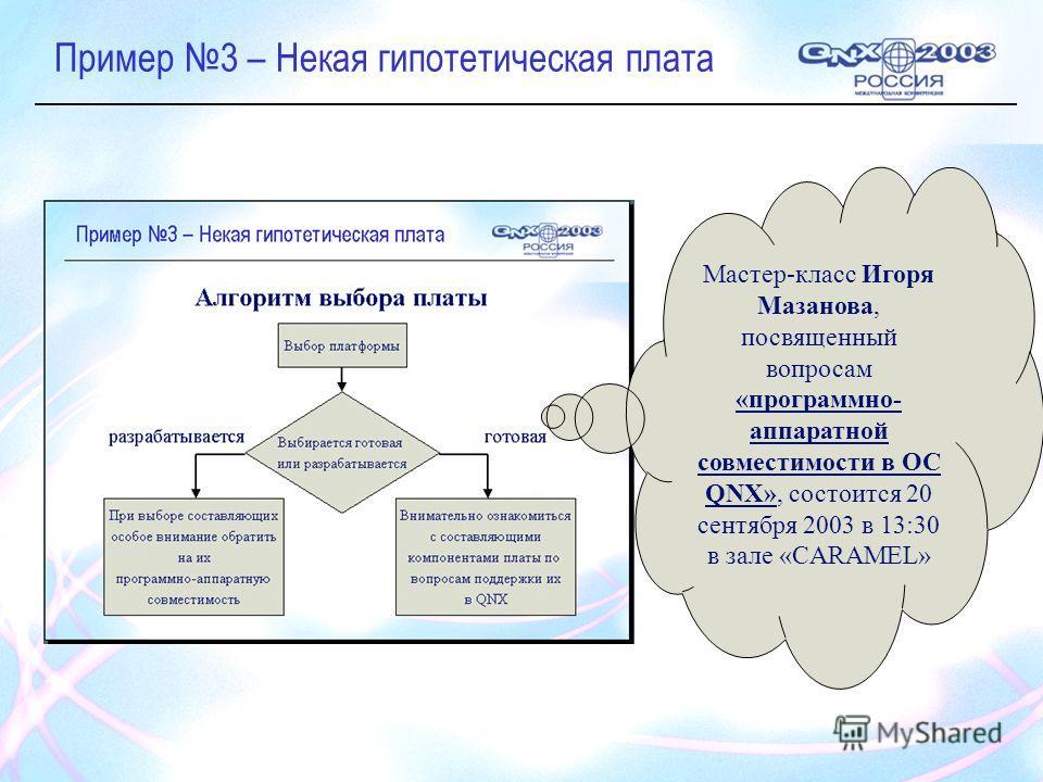 Пример 3 – Некая гипотетическая плата Мастер-класс Игоря Мазанова, посвященный вопросам «программно- аппаратной совместимости в ОС QNX», состоится 20 сентября 2003 в 13:30 в зале «CARAMEL»