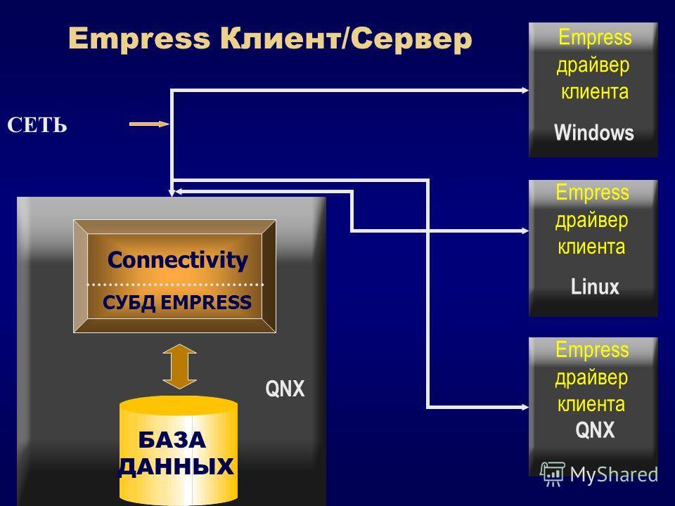 СУБД EMPRESS Connectivity БАЗА ДАННЫХ Empress Клиент/Сервер СЕТЬ QNX Linux Windows Empress драйвер клиента Empress драйвер клиента Empress драйвер клиента