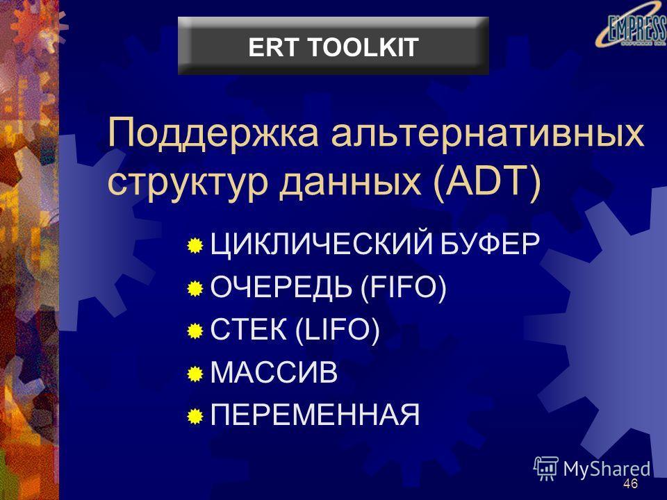 46 Поддержка альтернативных структур данных (ADT) ЦИКЛИЧЕСКИЙ БУФЕР ОЧЕРЕДЬ (FIFO) СТЕК (LIFO) МАССИВ ПЕРЕМЕННАЯ ERT TOOLKIT