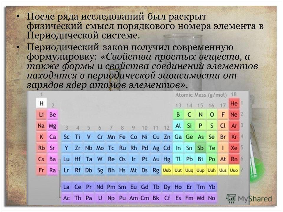 После ряда исследований был раскрыт физический смысл порядкового номера элемента в Периодической системе. Периодический закон получил современную формулировку: «Свойства простых веществ, а также формы и свойства соединений элементов находятся в перио