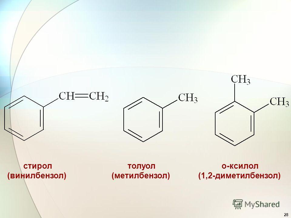 28 стирол (винилбензол) толуол (метилбензол) о-ксилол (1,2-диметилбензол)