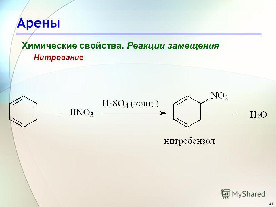 41 Арены Химические свойства. Реакции замещения Нитрование