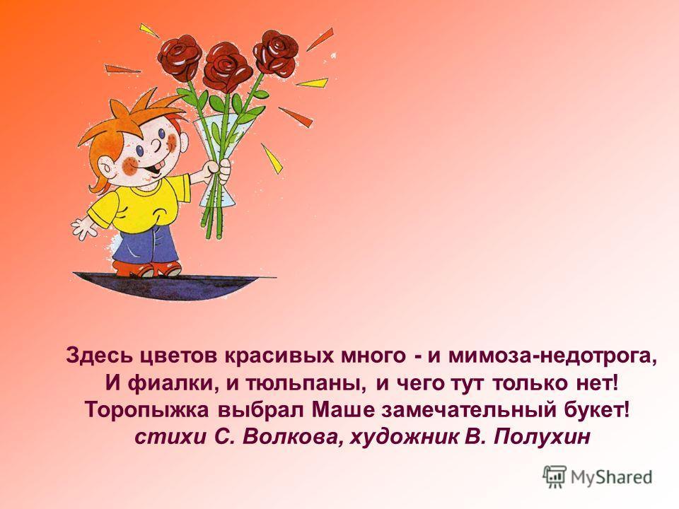 Здесь цветов красивых много - и мимоза-недотрога, И фиалки, и тюльпаны, и чего тут только нет! Торопыжка выбрал Маше замечательный букет! стихи С. Волкова, художник В. Полухин