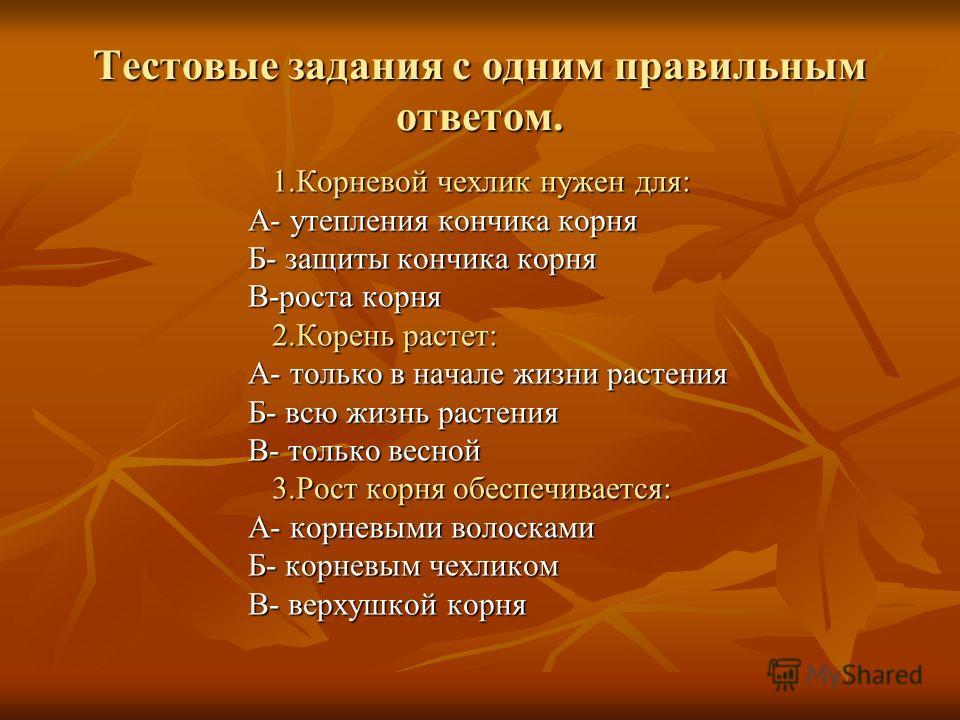 Найти соответствия. 1. Главный корень. 2. Боковые корни. 3. Придаточные. А. Отрастают от стебля или листа. Б. Развивающееся на главном или придаточных корнях. В. Развивается из корешка зародыша.
