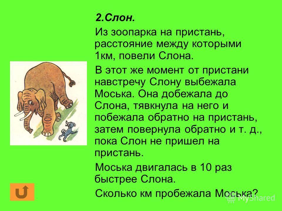 2.Слон. Из зоопарка на пристань, расстояние между которыми 1км, повели Слона. В этот же момент от пристани навстречу Слону выбежала Моська. Она добежала до Слона, тявкнула на него и побежала обратно на пристань, затем повернула обратно и т. д., пока