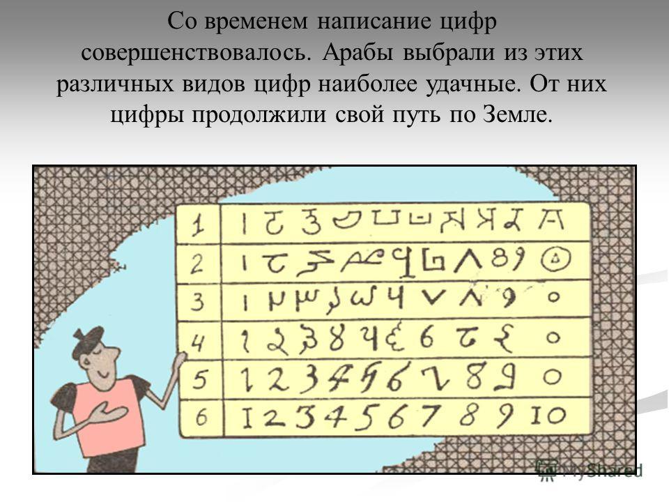 Со временем написание цифр совершенствовалось. Арабы выбрали из этих различных видов цифр наиболее удачные. От них цифры продолжили свой путь по Земле.