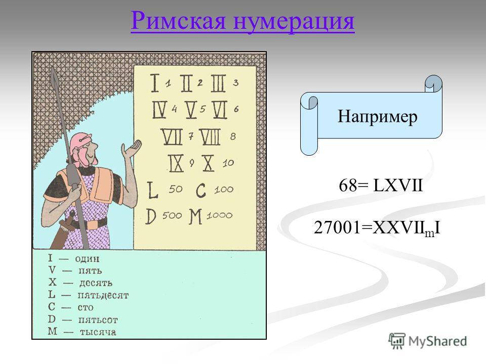 Римская нумерация Например 68= LXVII 27001=XXVII m I