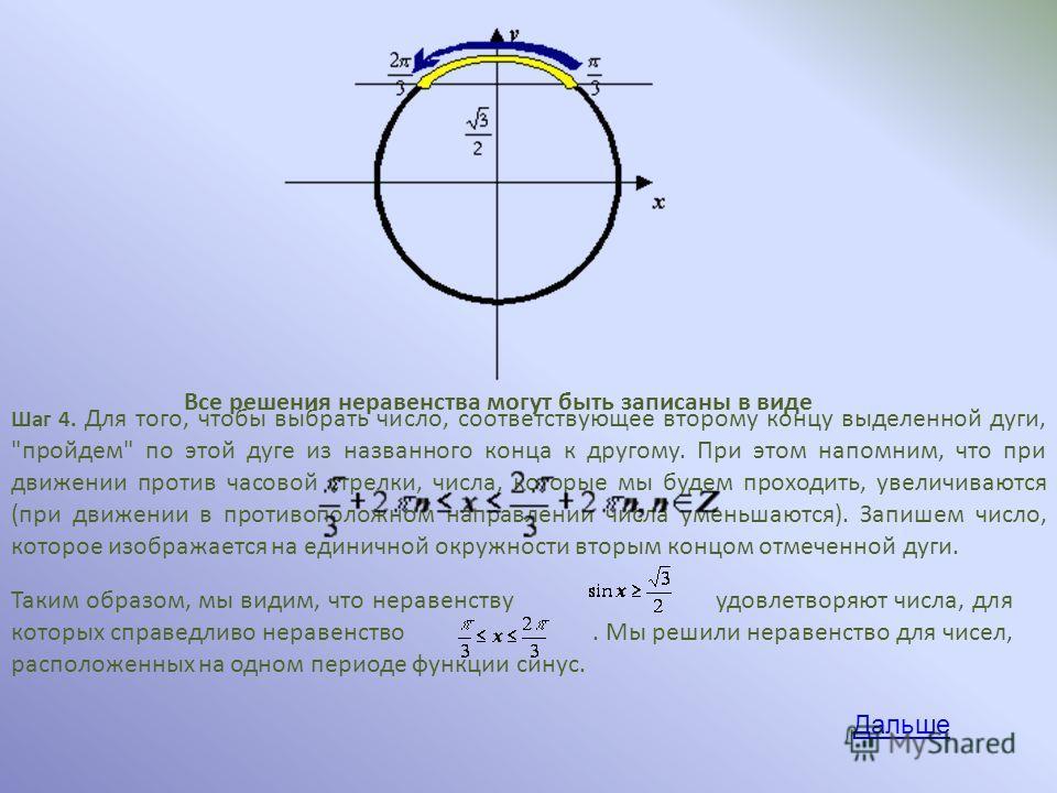 Шаг 4. Для того, чтобы выбрать число, соответствующее второму концу выделенной дуги,