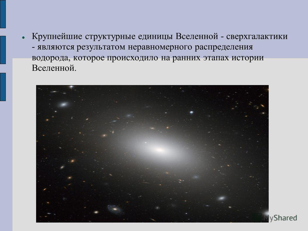 Крупнейшие структурные единицы Вселенной - сверхгалактики - являются результатом неравномерного распределения водорода, которое происходило на ранних этапах истории Вселенной.