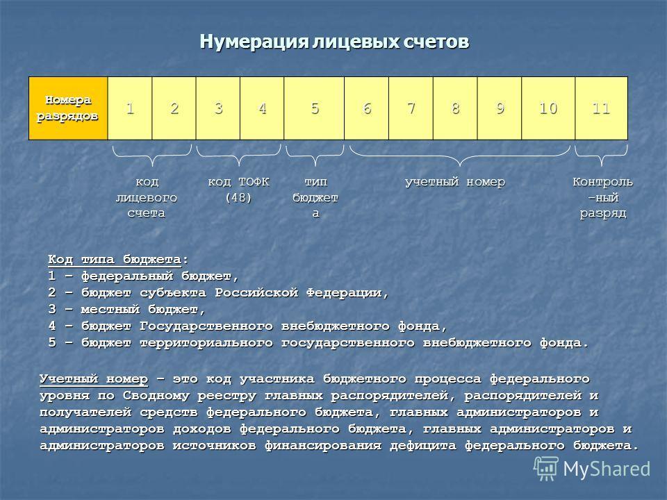 Нумерация лицевых счетов Код типа бюджета: 1 – федеральный бюджет, 2 – бюджет субъекта Российской Федерации, 3 – местный бюджет, 4 – бюджет Государственного внебюджетного фонда, 5 – бюджет территориального государственного внебюджетного фонда. Учетны