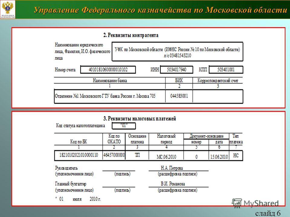 слайд 6 Управление Федерального казначейства по Московской области