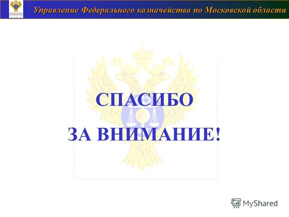 Управление Федерального казначейства по Московской области СПАСИБО ЗА ВНИМАНИЕ!