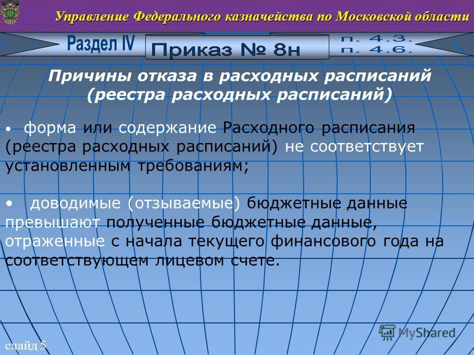 слайд 5 Управление Федерального казначейства по Московской области Причины отказа в расходных расписаний (реестра расходных расписаний) форма или содержание Расходного расписания (реестра расходных расписаний) не соответствует установленным требовани