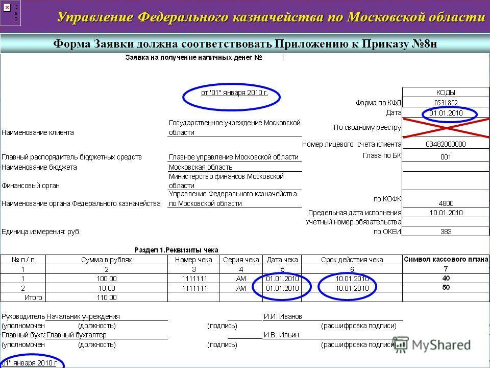 Управление Федерального казначейства по Московской области слайд 5 Форма Заявки должна соответствовать Приложению к Приказу 8н