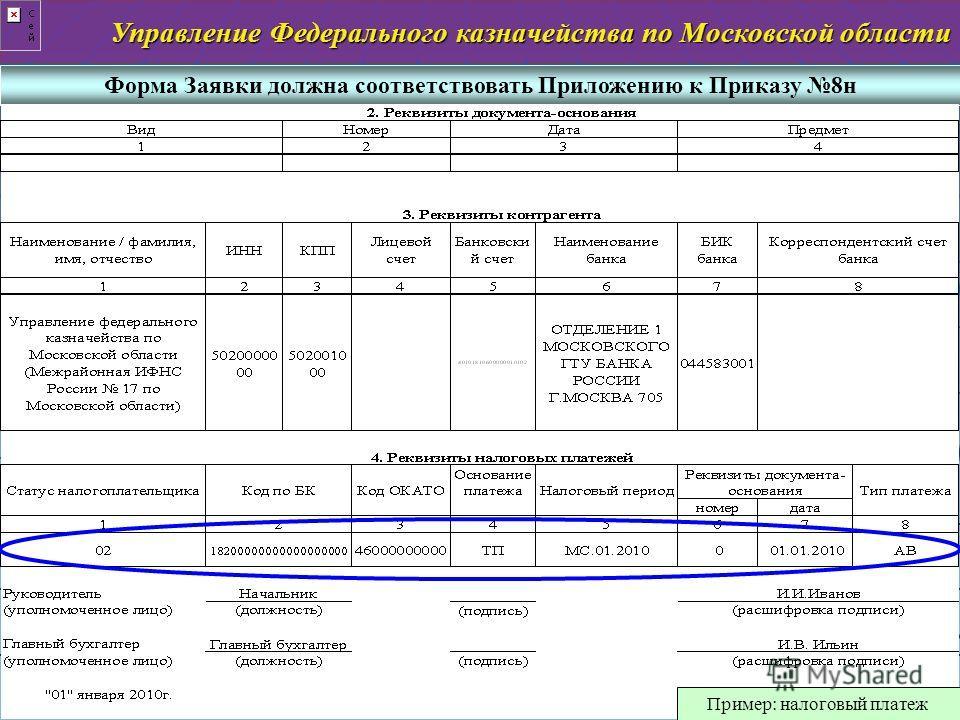 слайд 4 Управление Федерального казначейства по Московской области Форма Заявки должна соответствовать Приложению к Приказу 8н Количество листов в Заявке должно соответствовать Приложению к Приказу 8н Пример: налоговый платеж