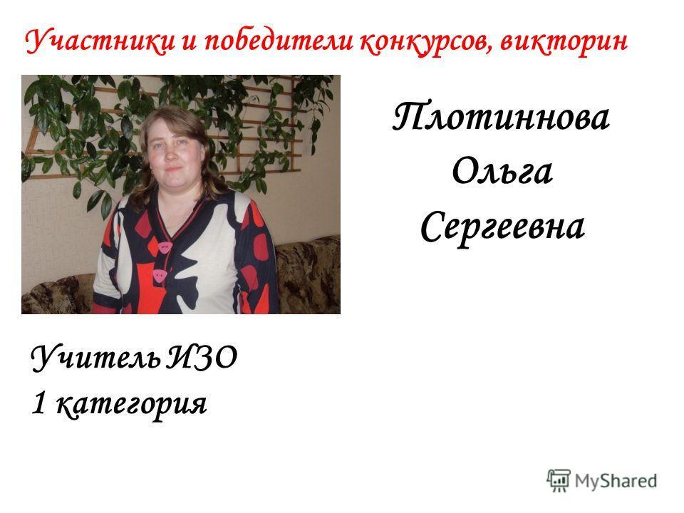 Участники и победители конкурсов, викторин Плотиннова Ольга Сергеевна Учитель ИЗО 1 категория