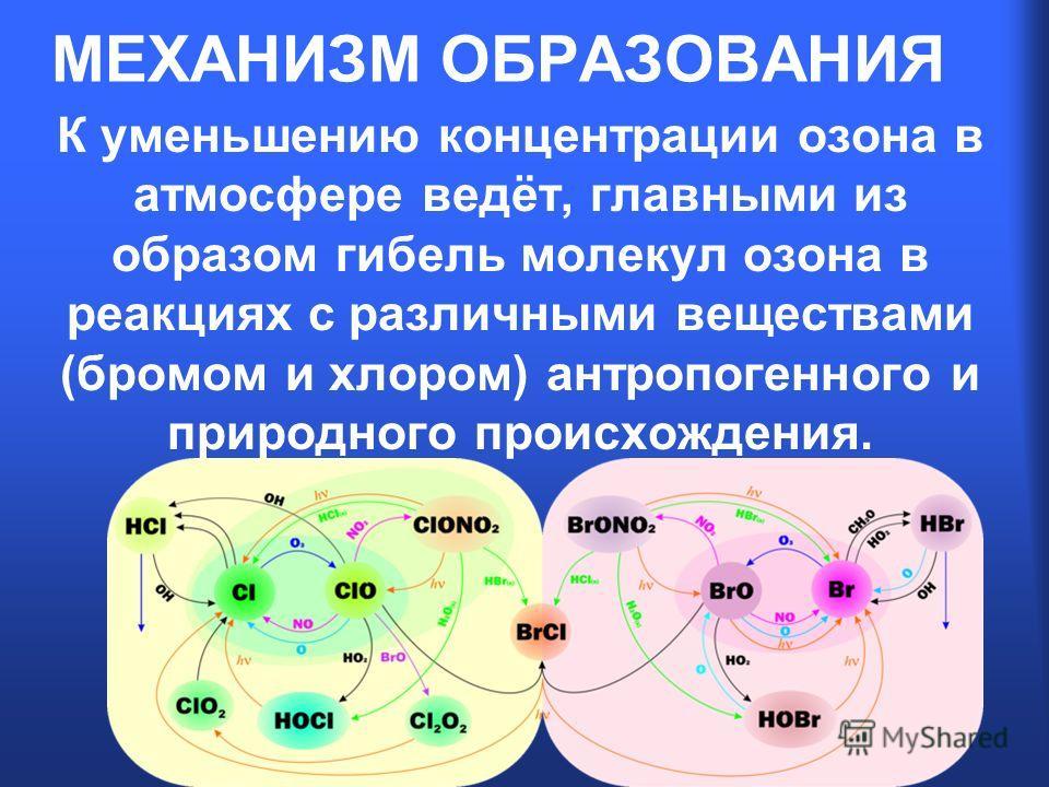 МЕХАНИЗМ ОБРАЗОВАНИЯ К уменьшению концентрации озона в атмосфере ведёт, главными из образом гибель молекул озона в реакциях с различными веществами (бромом и хлором) антропогенного и природного происхождения.