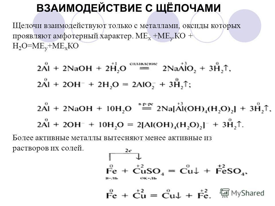 Щелочи взаимодействуют только с металлами, оксиды которых проявляют амфотерный характер. МЕ х +МЕ у.КО + Н 2 О=МЕ у +МЕ х КО Более активные металлы вытесняют менее активные из растворов их солей. ВЗАИМОДЕЙСТВИЕ С ЩЁЛОЧАМИ