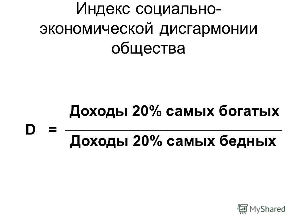 Индекс социально- экономической дисгармонии общества D = Доходы 20% самых богатых _____________________________________________________ Доходы 20% самых бедных
