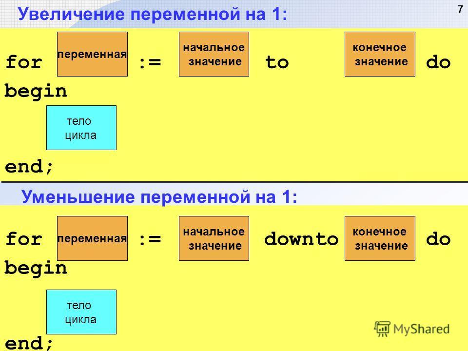 7 Увеличение переменной на 1: for := downto do begin end; for := downto do begin end; Уменьшение переменной на 1: переменная начальное значение конечное значение тело цикла for := to do begin end; for := to do begin end; переменная начальное значение