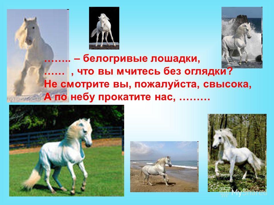 …….. – белогривые лошадки, ……, что вы мчитесь без оглядки? Не смотрите вы, пожалуйста, свысока, А по небу прокатите нас, ………