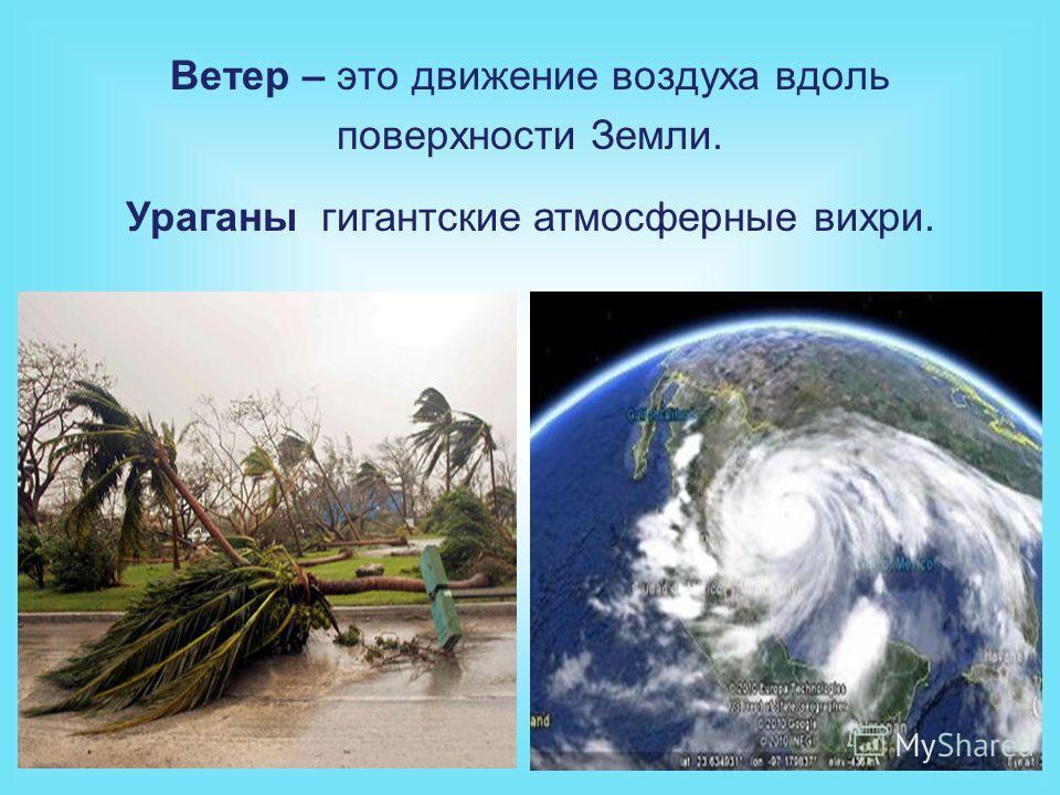 Ветер – это движение воздуха вдоль поверхности Земли. Ураганы гигантские атмосферные вихри.