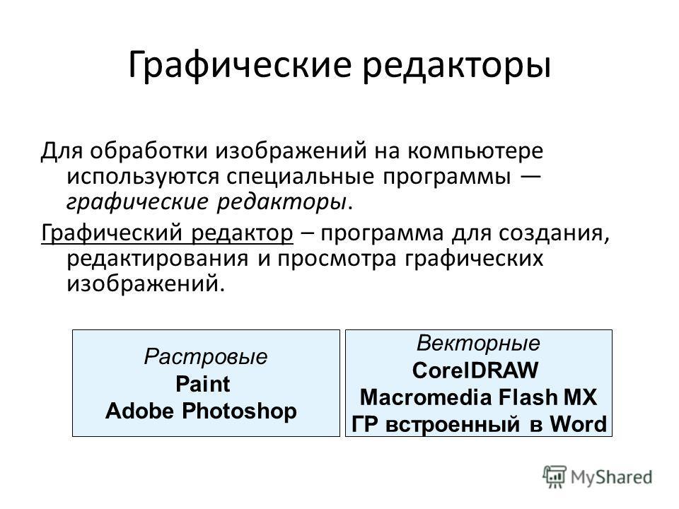 Графические редакторы Для обработки изображений на компьютере используются специальные программы графические редакторы. Графический редактор – программа для создания, редактирования и просмотра графических изображений. Растровые Paint Adobe Photosho