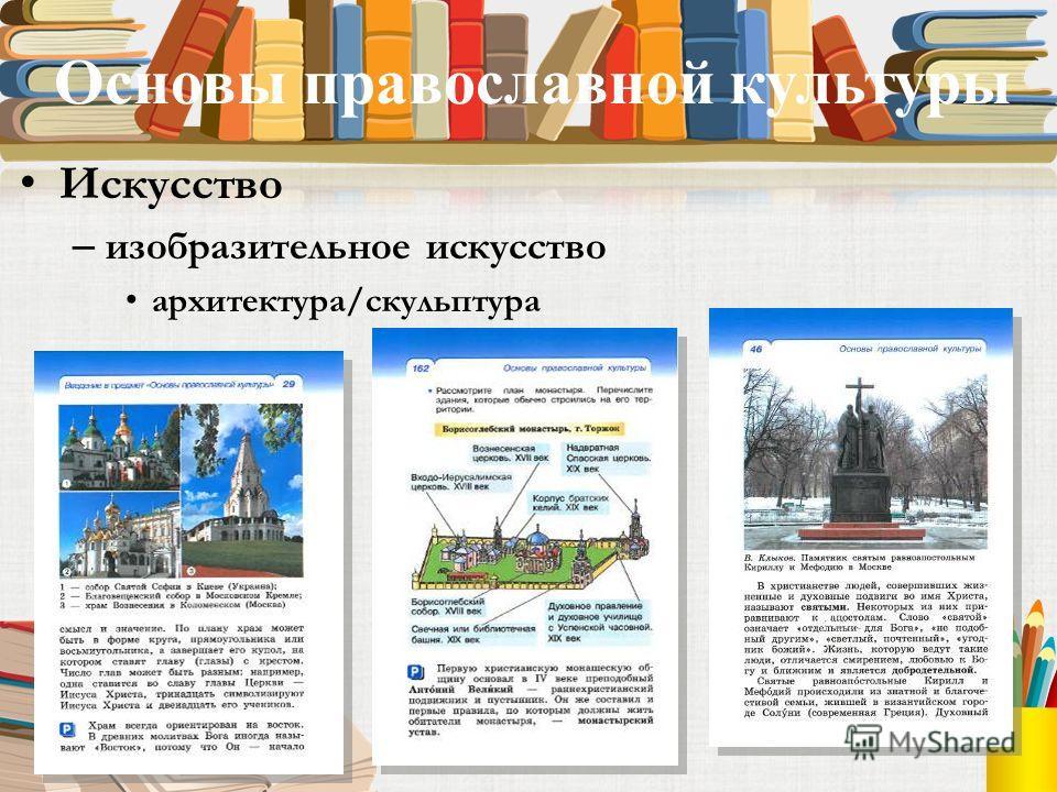 Основы православной культуры Искусство – изобразительное искусство архитектура/скульптура