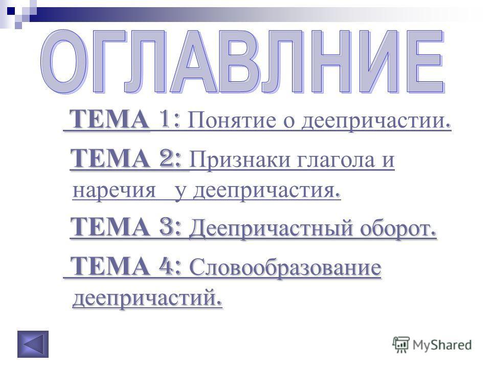 ТЕМА ТЕМА 1: Понятие о деепричастии. ТЕМА 2: ТЕМА 2: ТЕМА 2: Признаки глагола и наречия у деепричастия. ТЕМА 2: Признаки глагола и наречия у деепричастия. ТЕМА 3: Деепричастный оборот. ТЕМА 3: Деепричастный оборот. ТЕМА 3: Деепричастный оборот. ТЕМА