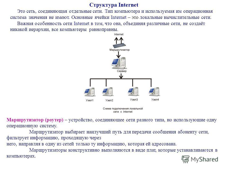 Структура Internet Это сеть, соединяющая отдельные сети. Тип компьютера и используемая им операционная система значения не имеют. Основные ячейки Internet – это локальные вычислительные сети. Важная особенность сети Internet в том, что она, объединяя