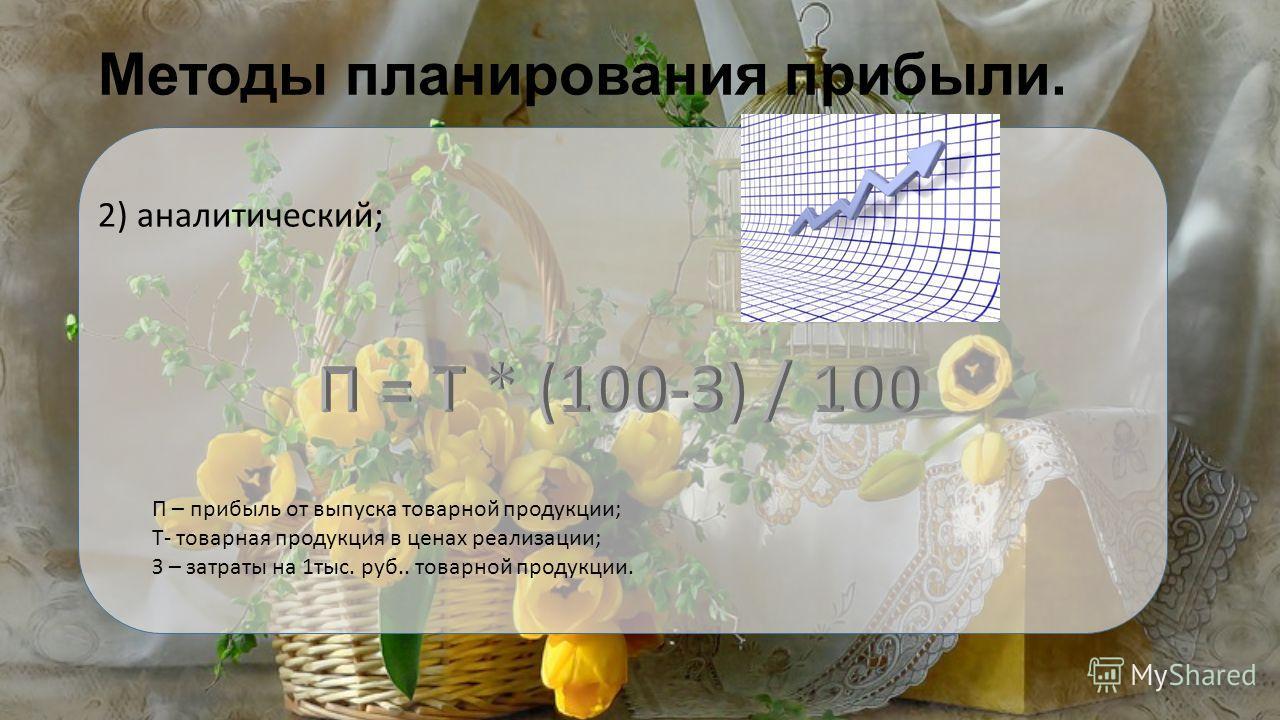 Методы планирования прибыли. 2) аналитический; П – прибыль от выпуска товарной продукции; Т- товарная продукция в ценах реализации; З – затраты на 1тыс. руб.. товарной продукции.