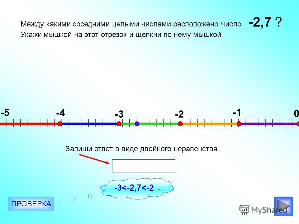 Между какими соседними целыми числами расположено число ? Укажи мышкой на этот отрезок и щелкни по нему мышкой. -2,7 -5 -4 -3-2 0 Запиши ответ в виде двойного неравенства. ПРОВЕРКА -3
