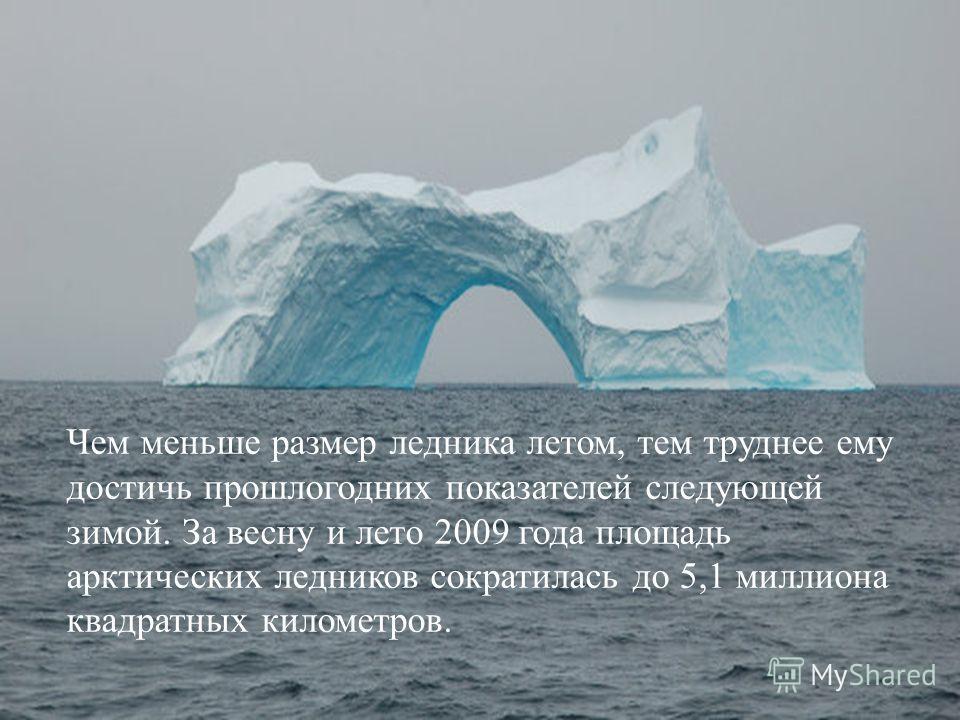 Чем меньше размер ледника летом, тем труднее ему достичь прошлогодних показателей следующей зимой. За весну и лето 2009 года площадь арктических ледников сократилась до 5,1 миллиона квадратных километров.